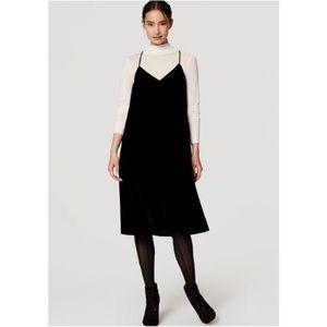 Loft Black Velvet Slip Dress